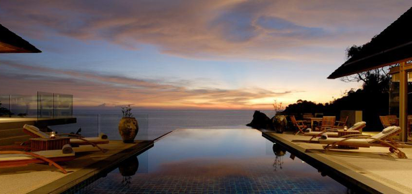 Colorful sunset at Lomchoy Phuket.